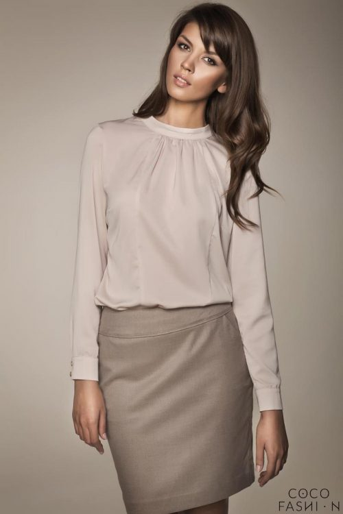 Beige stand up collar chic blouse 7store for Ze kitchen galerie dress code