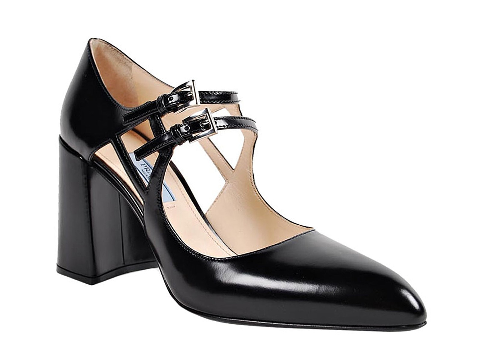 prada shoes heels pumps in black shiny calf leather mod