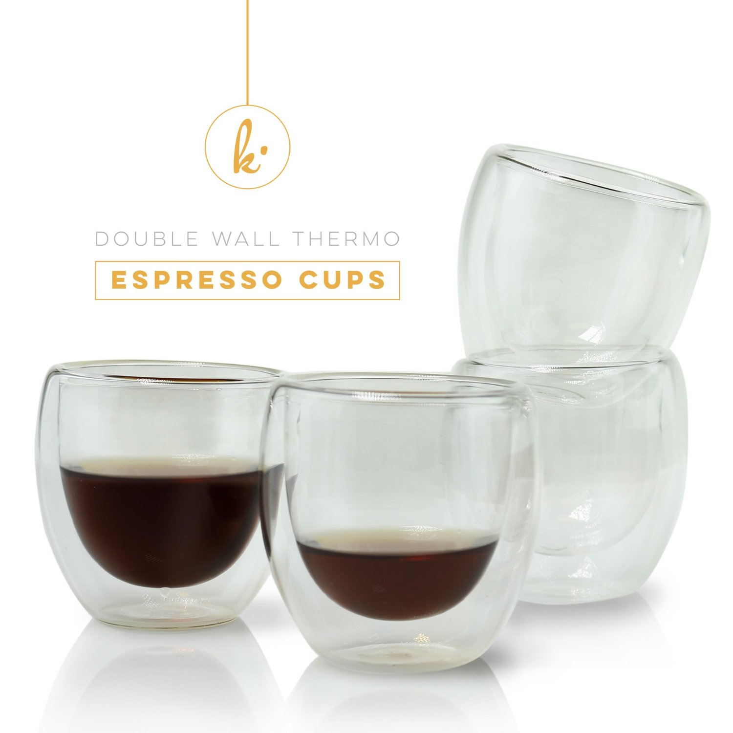 Espresso Cups Shot Glass Coffee Set Of 4 Double Wall