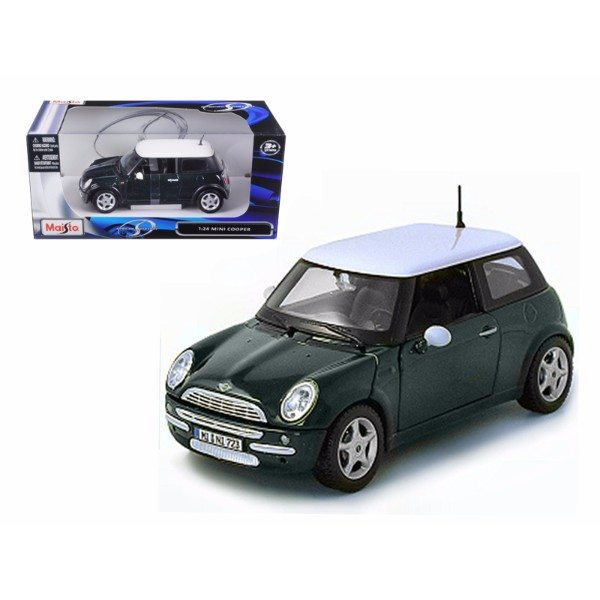 mini cooper green 1 24 diecast model car by maisto   7store