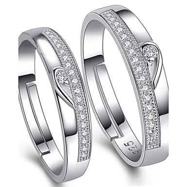 Fashion Love Adjule Sterling Silver Cubic Zirconia Wedding Rings Promis For S