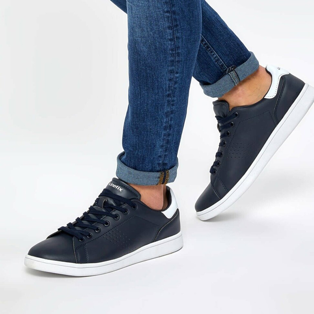 Men's Lace-up Navy Blue Sneakers - 7Store